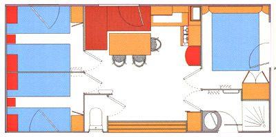 Plan du Mobil-Home 3 chambres